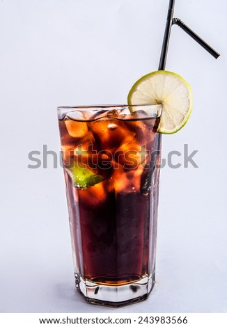 Long island ice tea coctail isolated on white background