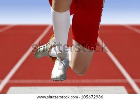 long jumper sand box - stock photo