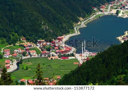 Long Lake (Uzungol) in Trabzon,Turkey - stock photo