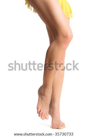 long legs isolated on white background - stock photo