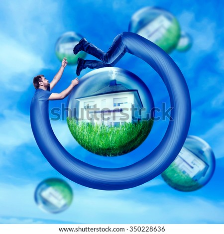 Long man running round his house in the water bulb - stock photo