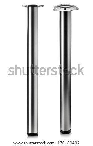 long metal furniture leg, isolated on white - stock photo