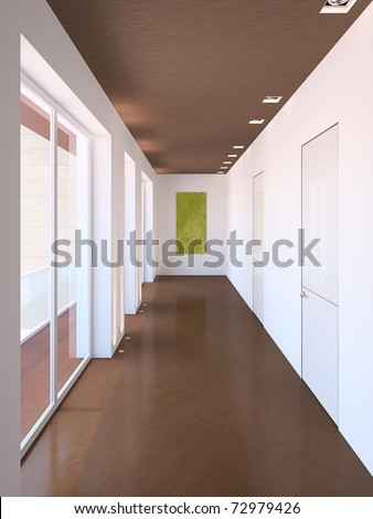 Long modern corridor. 3d render. - stock photo