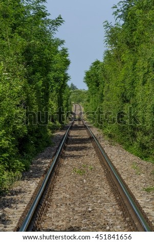 Long old railway crossing the forest - stock photo