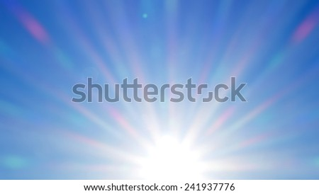 Long rays of sun, soft daylight sky - stock photo