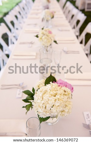 Long Reception Table - stock photo