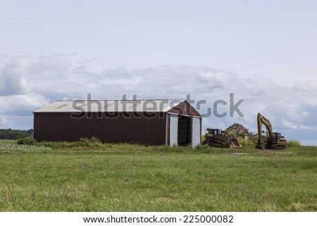 Long Red Barn - stock photo