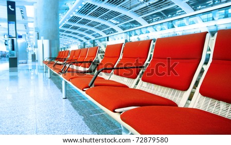 long red chair in building - stock photo