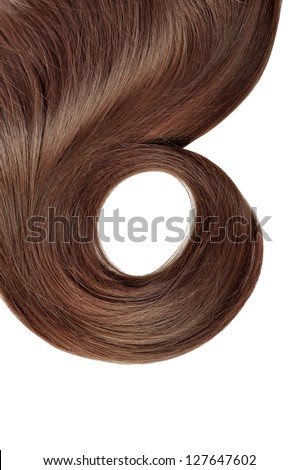 long red hair style isolated on white background - stock photo