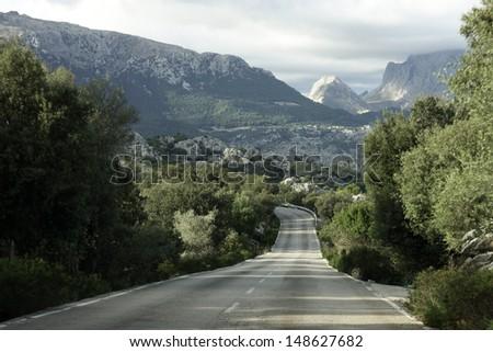 Long road at Mallorca - stock photo