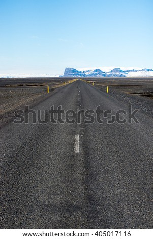 Long Road to Mountains in Iceland
