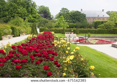 Long Rose Garden Flowerbed Border With Furniture, Paths, Pond And Hedges