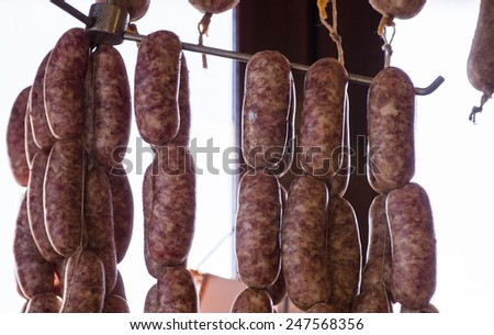 Long rows of pork's sausages hanging in a Tuscan butcher - stock photo