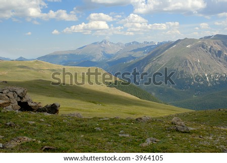 Long's Peak in the distance along Trail Ridge Road in the Rocky Mountain National Park, Colorado. - stock photo