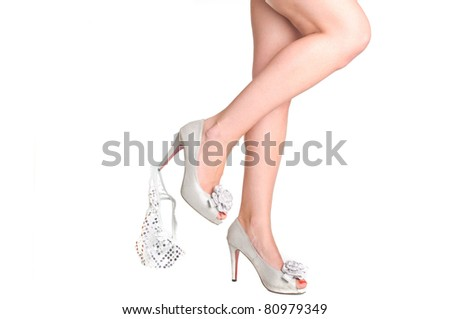 long sexy legs in high heels and panties down - stock photo