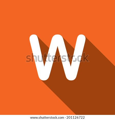 Long Shadow with the shape of the letter W - stock photo