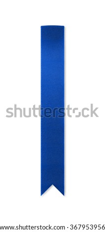 Long, shiny blue ribbon bookmark for use as a page reminder or divider. Photographed isolated on a white background. An attractive design element for web pages and brochures. - stock photo