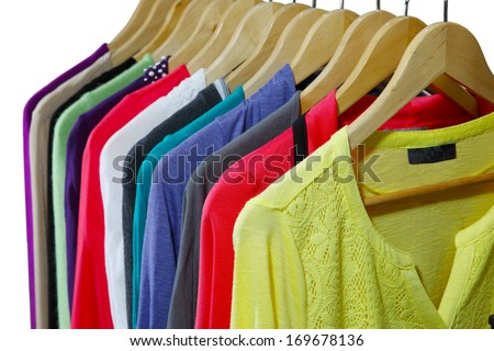Long Sleeve top clothes for women isolated on white - stock photo