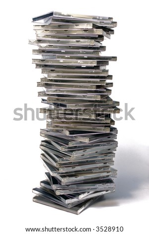 Long stack of classic CD/DVD case - stock photo