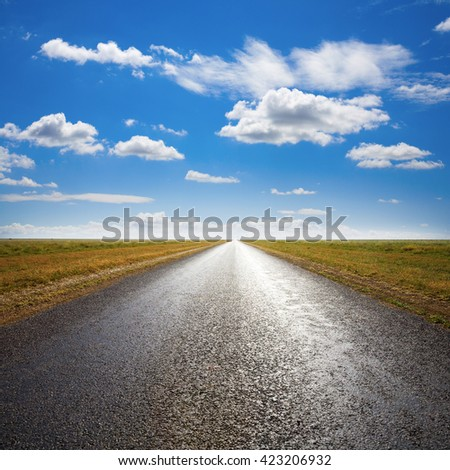Long straight desert road to flat horizon, with light streaming from straight ahead.