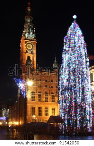 Long Street and City Hall at night city of Gdansk, Poland. Christmas time.