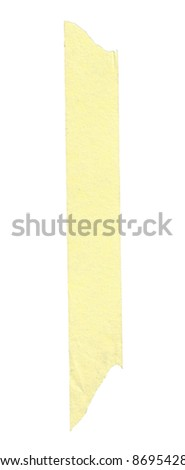long stripe of yellow paper tape, edges are naturaly frayed - stock photo