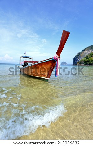 long tail boat in tropical beach, Andaman Sea,thailand