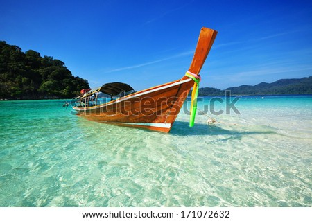 Long tail boat on the sea, Koh Lipe, Andaman sea, Thailand - stock photo