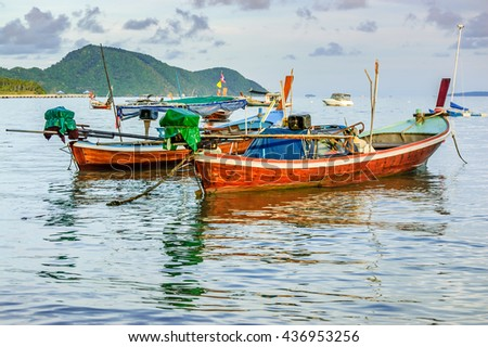 Long-tail boats at anchor in Phuket, southern Thailand