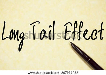 long tail effect text write on paper