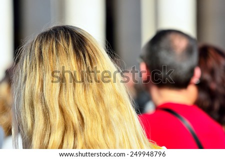 long tail of tourists to visit the dome of St. Peter - Citta del Vaticano - stock photo