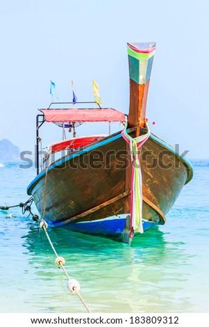Long-tailed boat at Andaman Sea Phi Phi island Krabi.Thailand   - stock photo