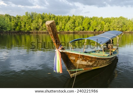 Long-tailed boat at mangrove forest - stock photo