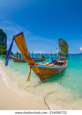 Long tailed boat Ruea Hang Yao in Krabi Thailand