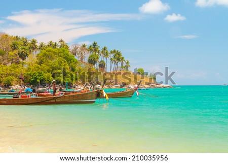 Long tailed boat Ruea Hang Yao in Phuket Thailand - stock photo