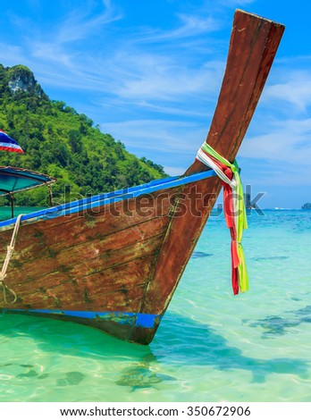 Long tailed transportation boat in phiphi island, thailand