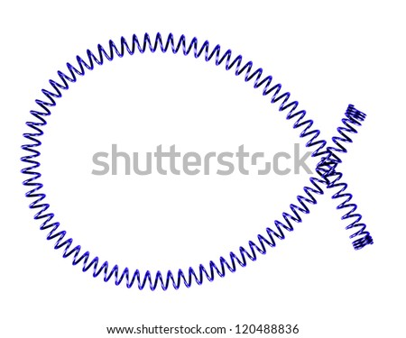 Long thin blue metal spring - isolated over white