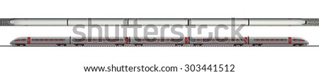 Long train with stripes on isolated white background, top and side views - stock photo