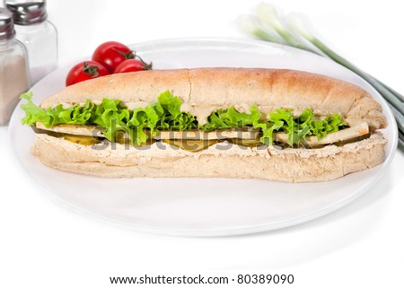 Long vegan sandwich made from integral bred with tofu fry cheese, soya mayonnaise, lettuce, sourly cucumber,  serve on plate - stock photo