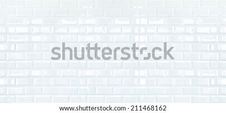 Long White ceramic brick tile wall,background - stock photo