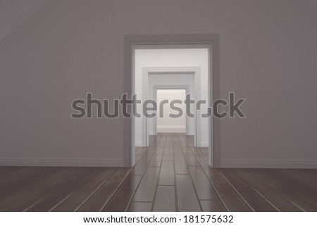 Long white corridor with open doors