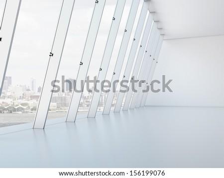 Long white interior - stock photo