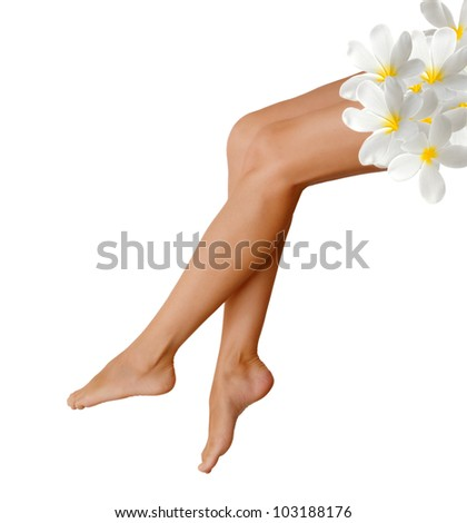 Long woman legs isolated on white background. Spa concept - stock photo