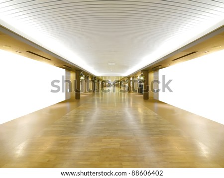 Long wooden walkway in underground - stock photo