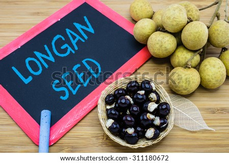 Longan seed written on chalkboard with the seeds in the basket and longan fruit on wood background