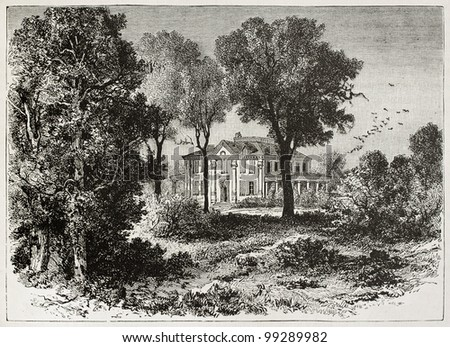 Longfellow house old view (G. Washington's Headquarters National Historic Site). Created by Kohl, published on Magasin Pittoresque, Paris, 1882. - stock photo