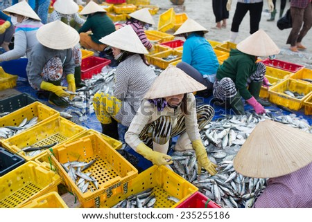 LONGHAI,VIETNAM - NOV 30 2014 :A traditional fish market on the beach on NOV 30 2014 Long Hai town, Baria - Vung Tau province, Southern of Vietnam. This market only happens in early morning. - stock photo