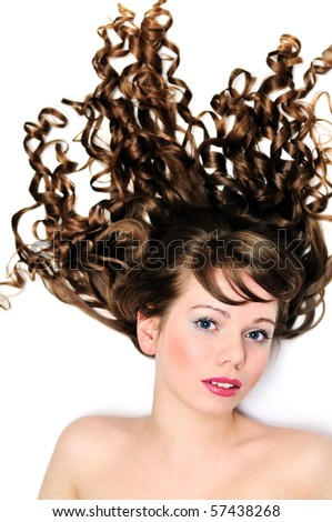 longhaired girl with blue eyes and curly hair - stock photo