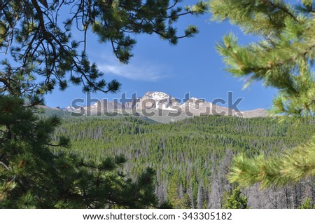 Longs Peak and Mt. Meeker against a blue sky and framed by pine boughs, Rocky Mountain National Park, Colorado, USA - stock photo
