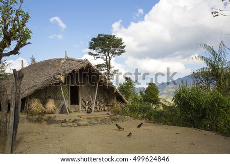 LONGWA, NAGALAND/INDIA - DECEMBER 8, 2013: Longwa Village traditional house in Nagaland.